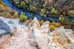 Autumn landscape. Novosibirsk region, Western Siberia, Russia. The output of the sedimentary rocks of the ancient ocean, age about 350 million years, the rivers stock photography