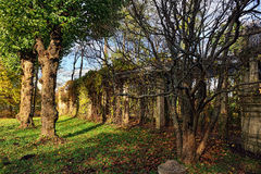 Autumn landscape with old colonade in Catherine garden,. Pushkin, Russia Stock Image