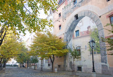 Autumn landscape of old, famous bohemian quarter Skadarlija in Belgrade Royalty Free Stock Photography