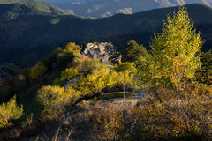Autumn landscape with old ruined house, Rodopi mountain, Bulgaria Stock Photo