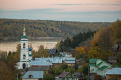 Autumn landscape of old russian village Plyos Stock Image