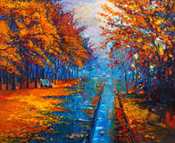 Autumn landscape. Original oil painting showing beautiful Autumn park with empty benches on canvas. Modern Impressionism royalty free stock photo