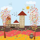 Autumn landscape and owl Royalty Free Stock Photos