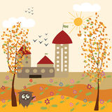 Autumn landscape and owl Royalty Free Stock Images
