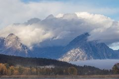 Autumn Landscape at Oxbow Bend at Sunrise. A scenic autumn landscape at oxbow bend in Grand Teton National Park at sunrise Stock Photos
