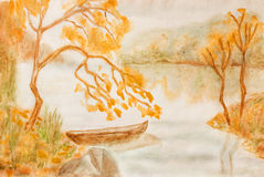 Autumn landscape, painting Royalty Free Stock Images