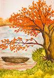 Autumn landscape, painting Royalty Free Stock Image