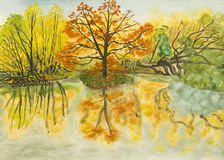 Autumn landscape, painting Royalty Free Stock Photography