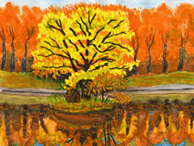 Autumn landscape, painting Stock Image