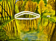 Autumn landscape, painting, watercolours. Painted picture, watercolours - autumn landscape with forest, lake and bridge Royalty Free Stock Images