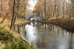 Autumn landscape with a park. Royalty Free Stock Photography
