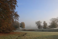 Autumn landscape, park with frost and mist Royalty Free Stock Photography