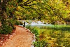 Autumn Landscape With Path By il lago fotografie stock libere da diritti