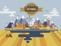 Autumn Landscape Petite ville Images stock