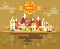 Autumn Landscape Petite ville Images libres de droits