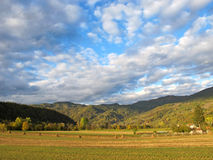 Autumn landscape with pictorial clouds Stock Photography