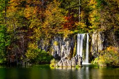 Autumn landscape in Plitvice Lakes National Park, Croatia‎ Royalty Free Stock Photography