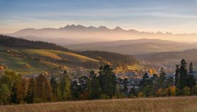 Autumn Landscape Of Poland Tatra Mountains. Beautiful View Of High Tatras And Picturesque Sunny Valley. Polish Rural Landscape Wit stock image