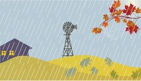 Autumn landscape with rain Royalty Free Stock Photo