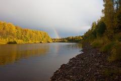 Autumn landscape. Rainbow Royalty Free Stock Photography