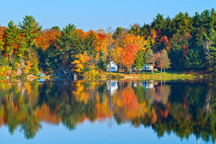 Autumn Landscape with Reflection. Autumn landscape with colourful trees reflecting in a calm lake Stock Images
