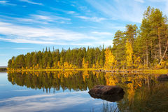 Autumn landscape with a reflection Royalty Free Stock Photo