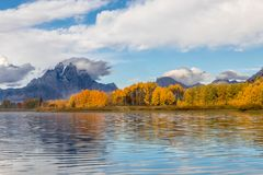 Autumn Landscape Reflection at Oxbow Bend. A scenic autumn reflection landscape at oxbow bend in Grand Teton National Park Royalty Free Stock Photo