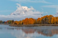 Autumn Landscape Reflection in the Tetons. A scenic landscape reflection in the Tetons in autumn Royalty Free Stock Photos