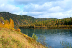 Autumn landscape with river Royalty Free Stock Photos