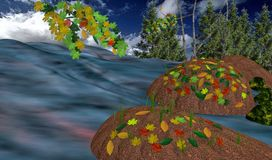 Autumn landscape on the river Stock Image