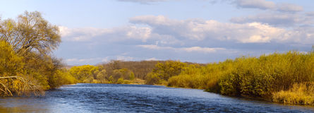 Autumn landscape, river shallow Royalty Free Stock Photography