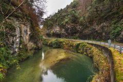 Autumn landscape, river in Somiedo natural park, Asturias, Spain.  royalty free stock photography