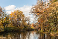 Autumn landscape with river Stock Photos