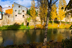 Autumn landscape with river Tajo Royalty Free Stock Images