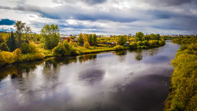 Autumn Landscape. And river Ukhta Stock Images
