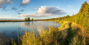 Autumn landscape on the river Ural, the Irtysh, Russia Stock Photography