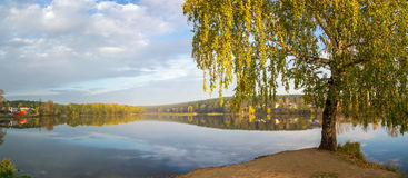 Autumn landscape on the river Ural, the Irtysh, Russia Royalty Free Stock Photos