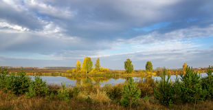 Autumn landscape on the river Ural, the Irtysh, Russia Stock Photo