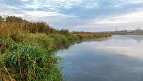 Autumn landscape on the river Ural, the Irtysh, Russia Stock Image