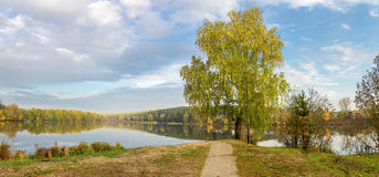 Autumn landscape on the river Ural, the Irtysh, Russia Royalty Free Stock Image