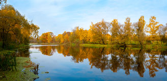 Autumn landscape of a river Royalty Free Stock Photo