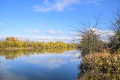 Autumn Landscape Rivier en rivierbank met gele bomen Wilg en populier op de rivierbank Stock Afbeelding