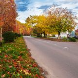 Autumn landscape with road Royalty Free Stock Image