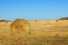 Autumn landscape with rolls of hay Stock Images