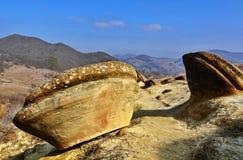 Autumn landscape in Romania. Autumn landscape with strange rock formation named trovant in Buzau Romania Stock Photo
