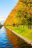 Autumn landscape of Saint Petersburg - Swan Canal and autumn park in sunny weather Stock Photography