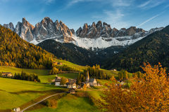 Autumn Landscape with Santa Maddalena Stock Image