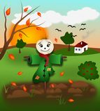 Autumn landscape with scarecrow Stock Images