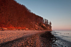 Autumn landscape by the sea. Sunrise over the sea, view of the beautifully cliff stock photo