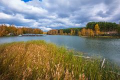 Autumn landscape. The Separate river a tributary of the Ob rive Royalty Free Stock Photos